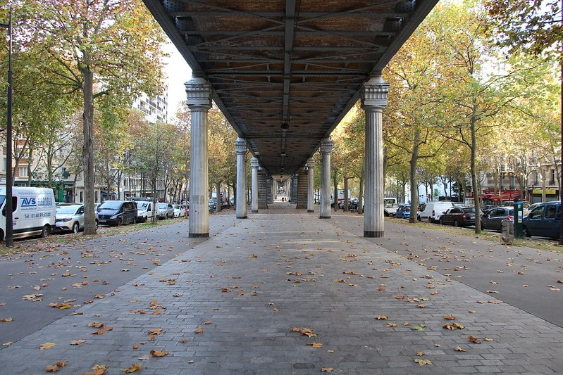 Under a viaduct of Paris metro 6