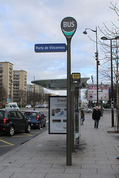Bus stop for line 351 at Porte de Vincennes
