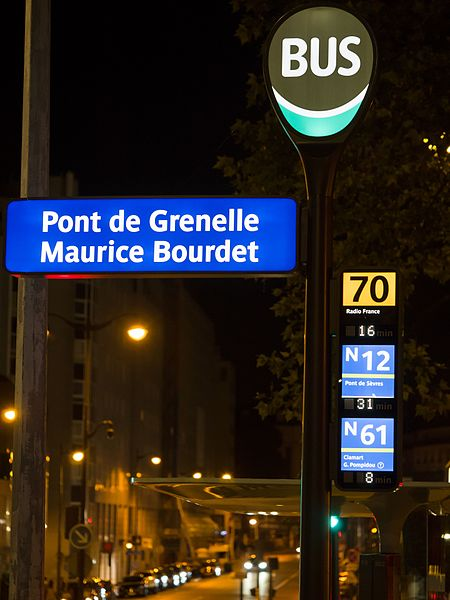 Bus stop at Pont de Grenelle Maurice Bourdet, at night