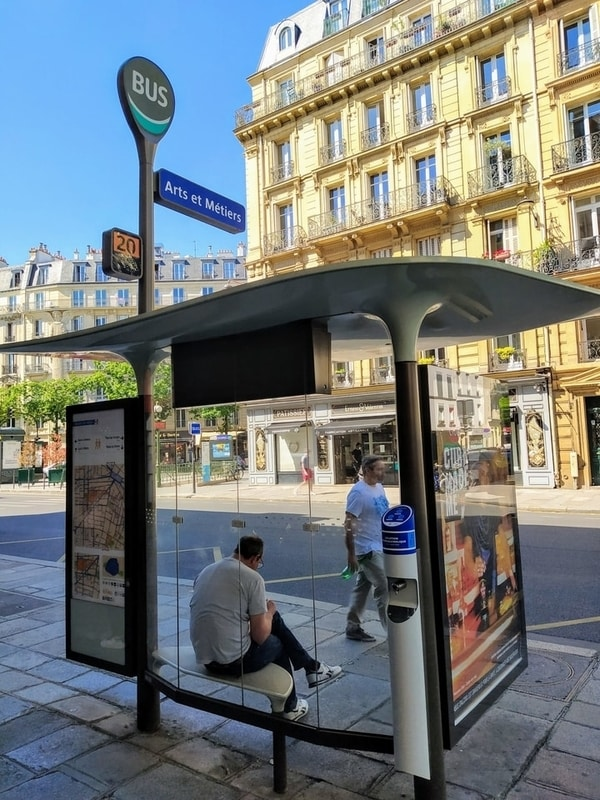 Arts et Métiers bus stop with hand sanitiser dispenser