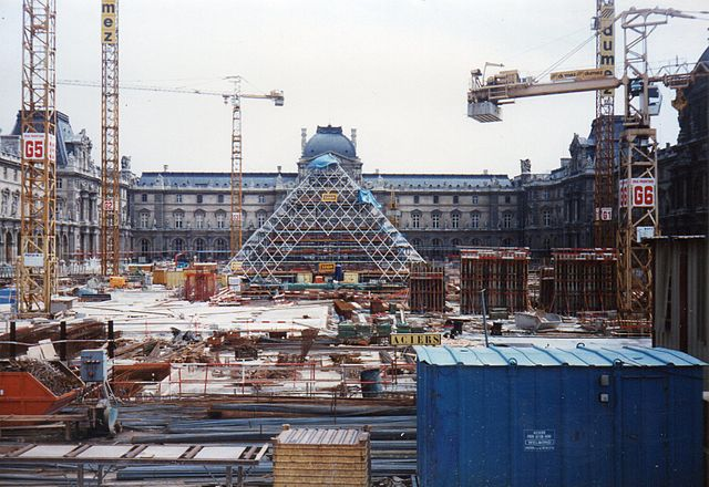 The Louvre Pyramid under construction