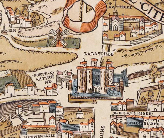Detail of the Porte Saint-Antoine in a medieval map