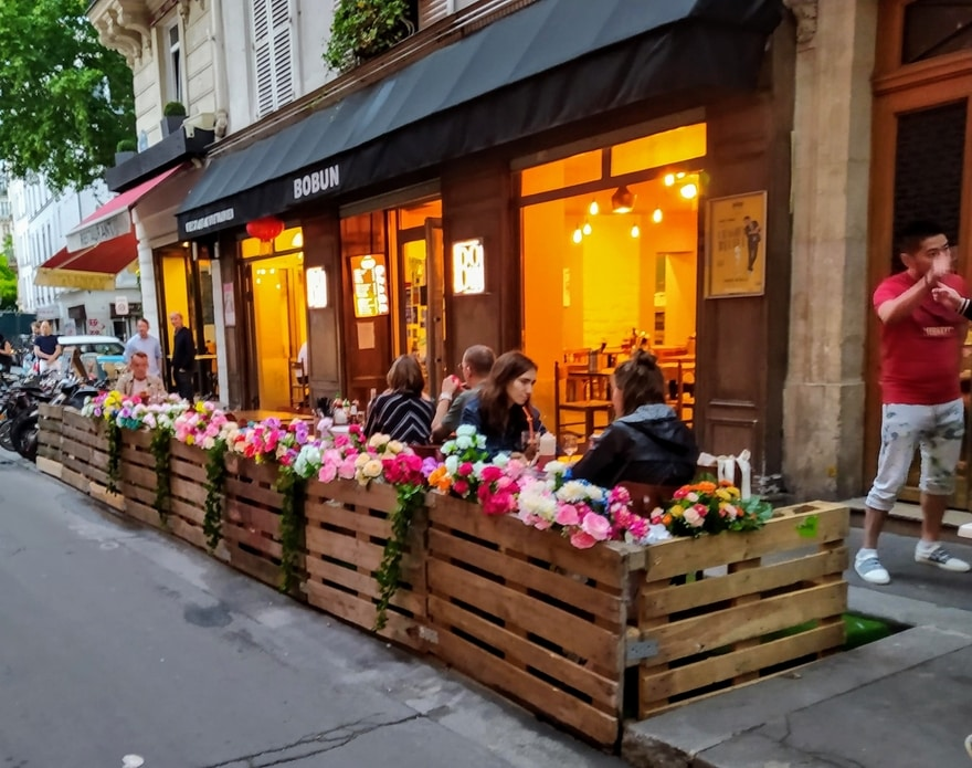 Restaurant terrace with flowers