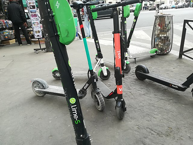 Electric scooters on a Paris pavement